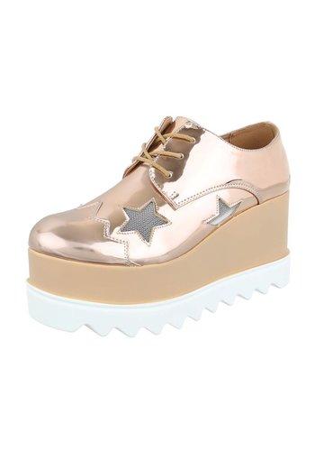 Dames veterschoenen - Ros̩ goud