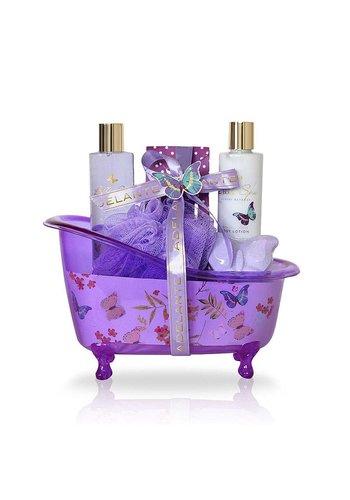 Adelante Set cadeau gel de douche, lotion pour le corps, granules de bain, bruisbal et éponge 200 ml