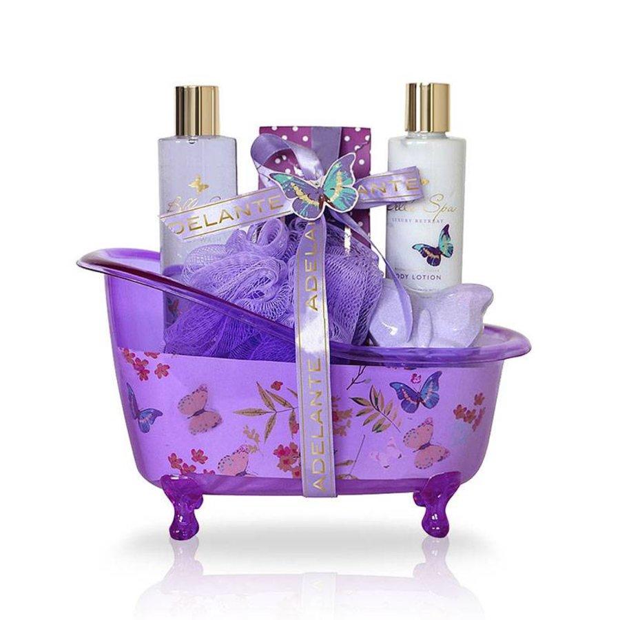 Adelante Geschenkset Duschgel, Bodylotion , badkorrels, Bath Bomb und Schwamm 200 ml