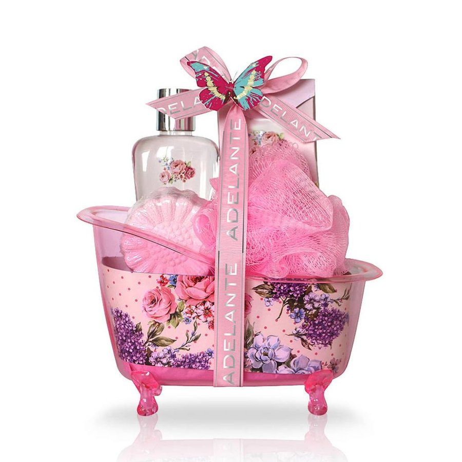Adelante Geschenkset Duschgel, badkorrels, Badbombe und Schwamm 120 ml