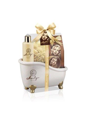 Adelante Coffret cadeau gel douche cadeau, badkorrels, du savon et de l'éponge 270 ml