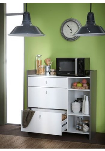 Neckermann Keukenkast Battery Hoogglans wit, Donker geborsteld eiken