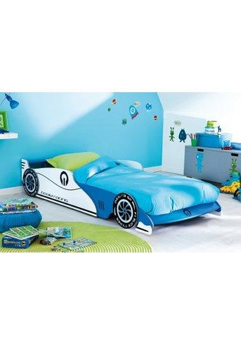 Maxbedden Kinderbed Grand Prix 90 x 200 Wit, Blauw, Zwart
