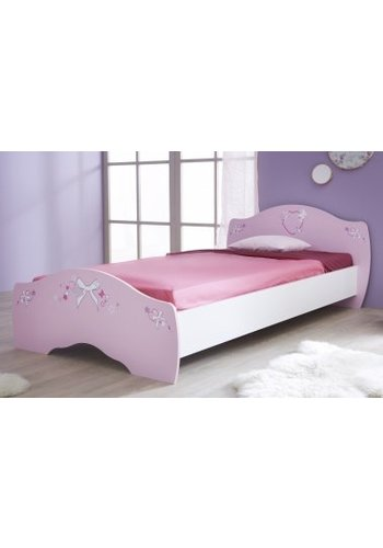 Maxbedden Kinderbed Papillon (90 x 190) Wit, roze