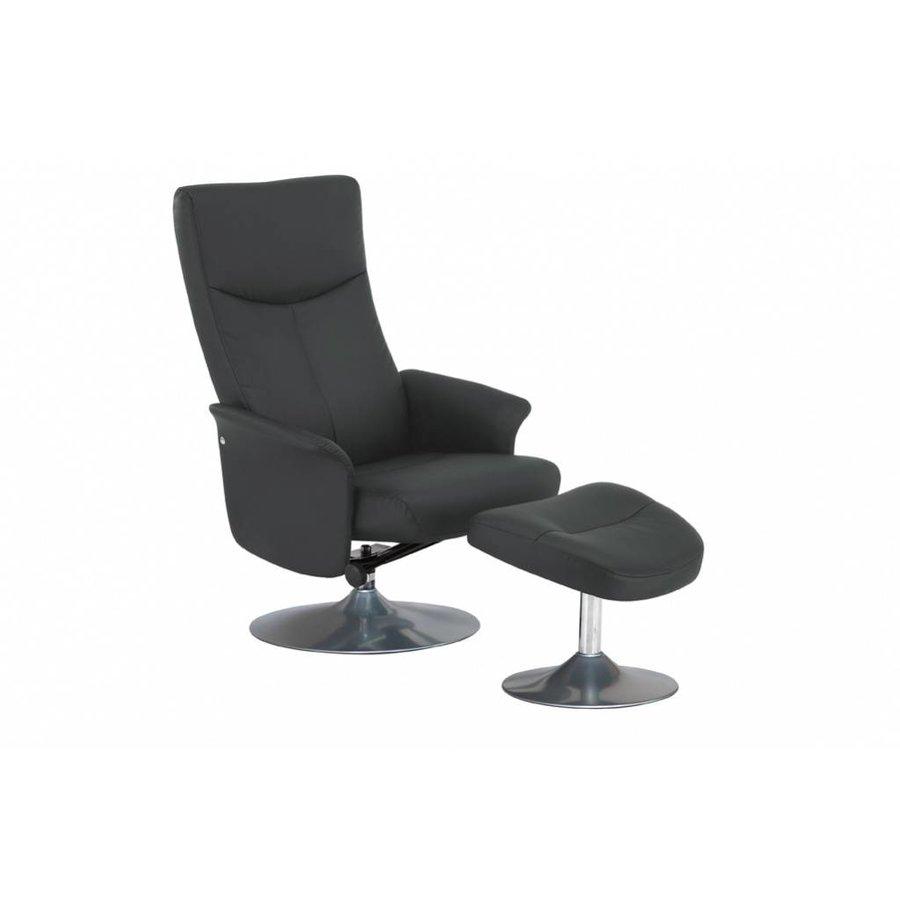 Relaxstoel Ludo grijs met voetenbank Grijs