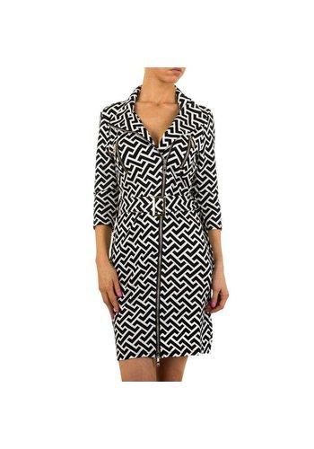 HF-Fashion Dames mantel - zwart/wit