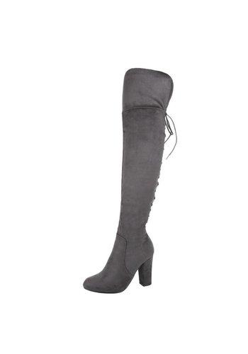 Dames overknee laarzen - grijs