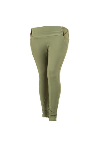 Holala Plus size dames broek - groen