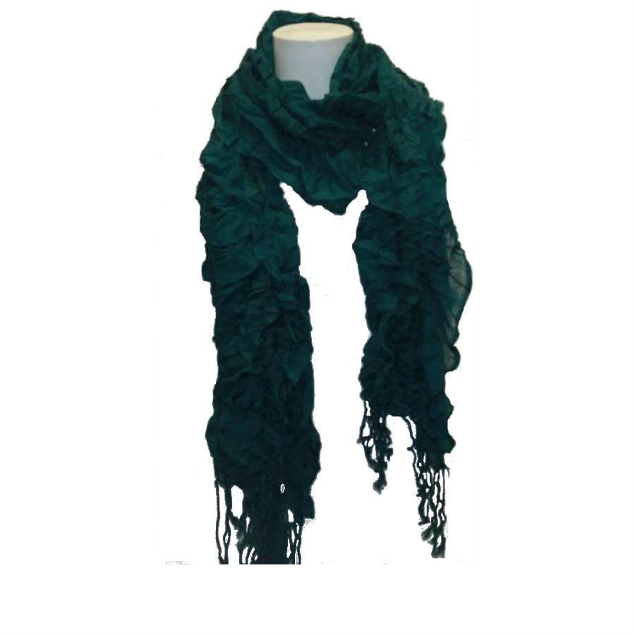 Damen Schal grün mit Fransen