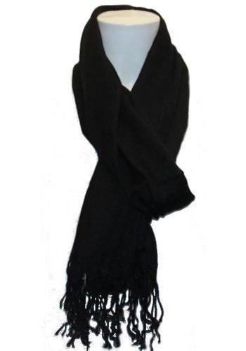 Gina Benotti Damen Schal schwarz mit Fransen
