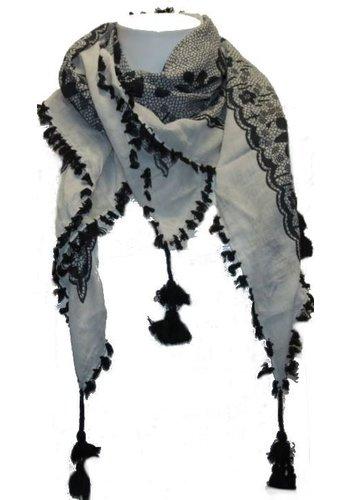 Bonprix collection Foulard femme noir et blanc avec frange