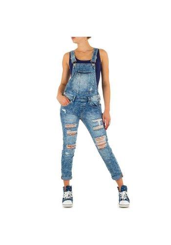 Markenlos Dames Jeans overal van Mozzaar - Blauw