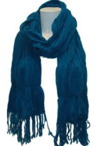 Romano Dames sjaal aqua met franje