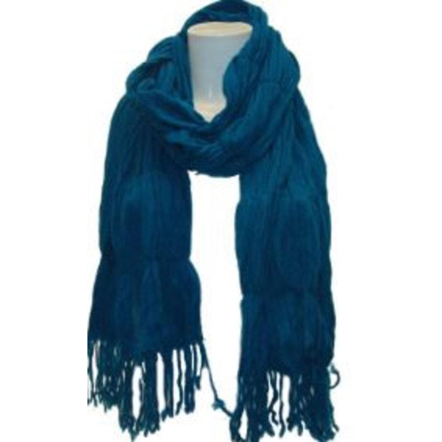Damen Schal Aqua mit Fransen