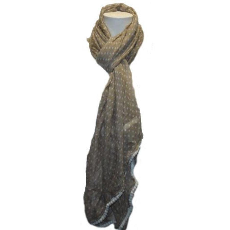Damen Schal ecru mit weißen Punkten