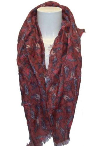 Romano Damen Schal rot mit Vogelmotiv