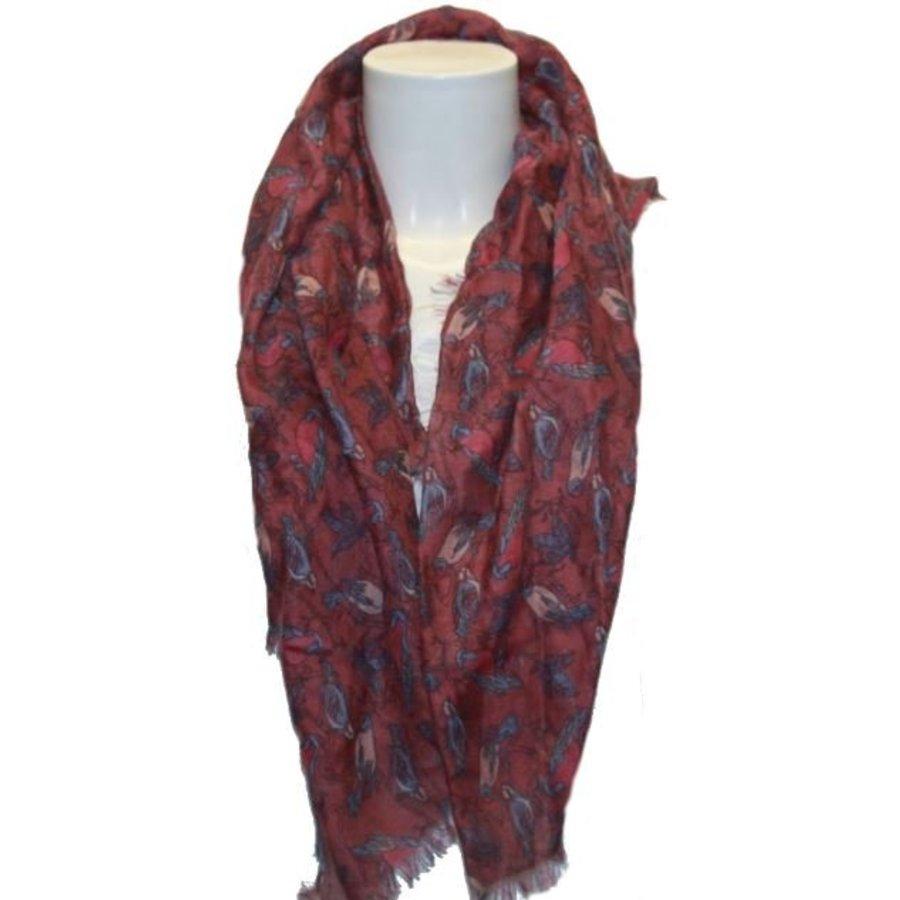 Damen Schal rot mit Vogelmotiv