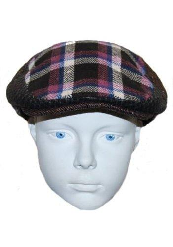 Grace hats Pet bruin met roze/blauwe ruit
