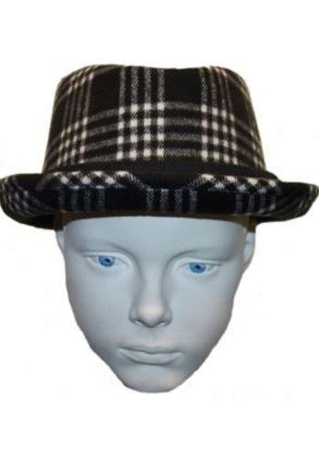 Grace hats Hoed zwart met wit/grijze ruit