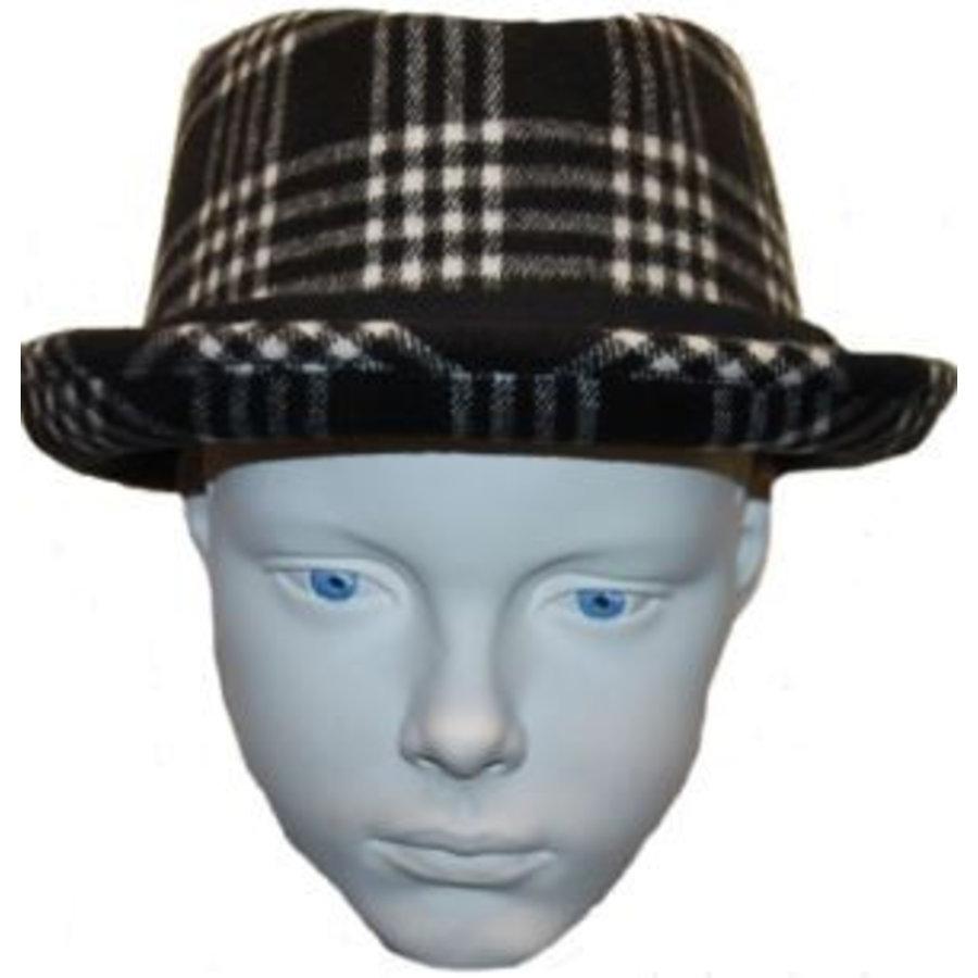 Hut schwarz mit weißem / grauem Diamant
