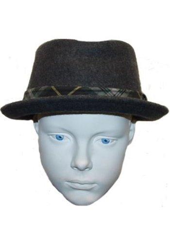 Grace hats Hoed grijs met groen/gele streep