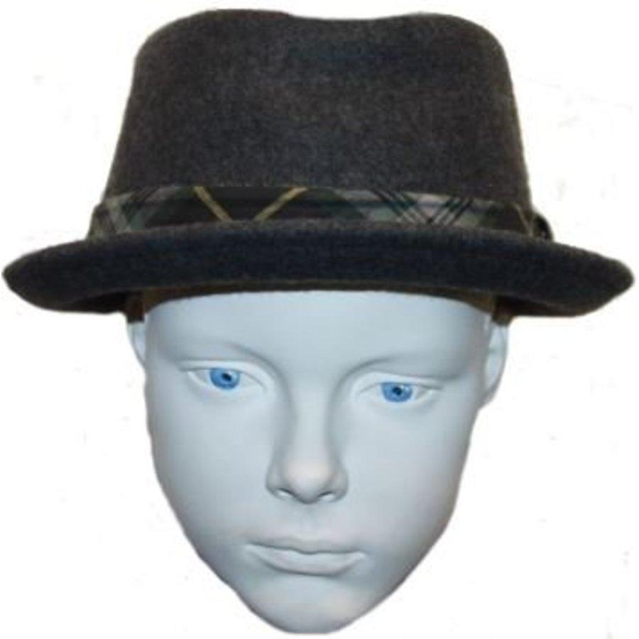 Hut grau mit grün / gelb Streifen