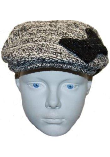 Grace hats Pet zwart/wit met zwarte strik