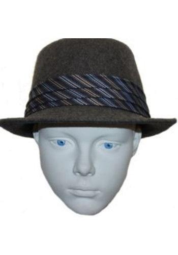 Grace hats Hoed grijs blauw/witte streep