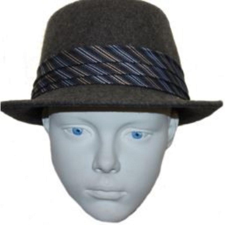 Hut grau blau / weiß Streifen