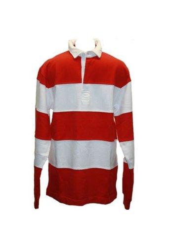Lemon & Soda Sweater Met Polo Kraag en lange mouw Rood Wit