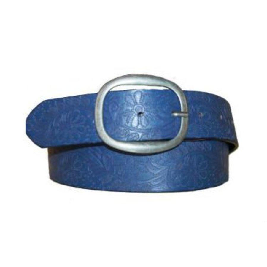 Gürtel blau mit Blumenmotiv