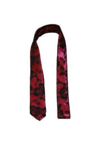 Clockhouse Stropdas smal roze met rozen-motief