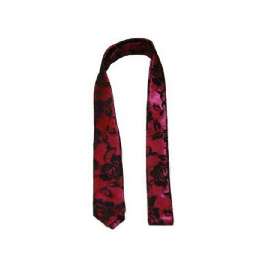 Krawatte schmales Rosa mit Rosenmotiv