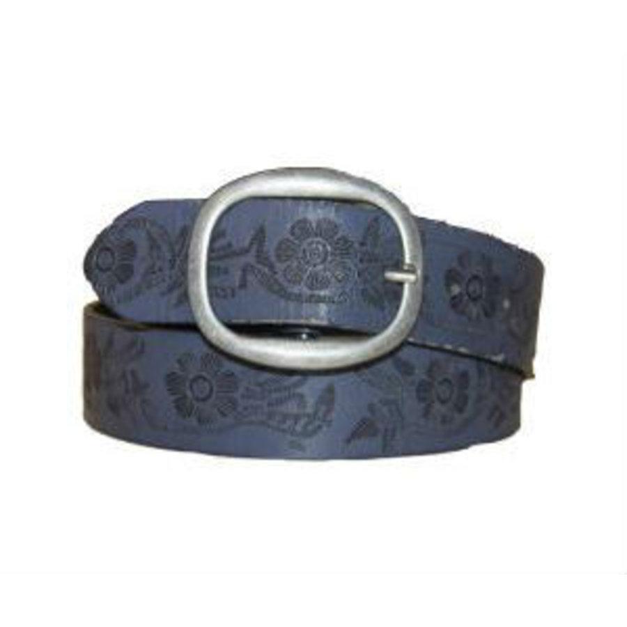 Gürtel blau mit runder Schnalle