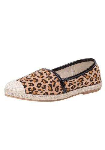 MODEQUEEN Dames Instappers- leopard Zwart