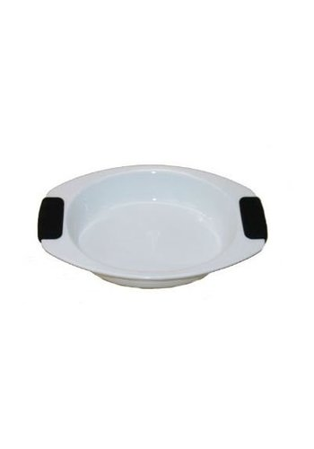 Neckermann Neckermann Ovenschaal rond met siliconen greep wit 35,5x27 cm