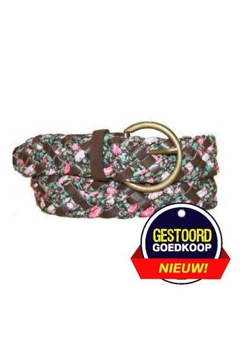 Romano Riem bruin gevlochten met rozen-motief