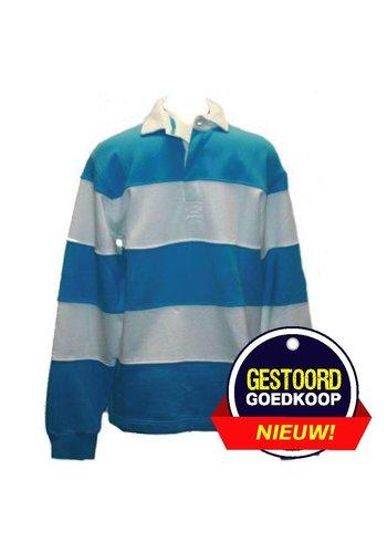 Lemon & Soda Sweater met Polo Kraag en lange mouw  Licht Blauw en Wit
