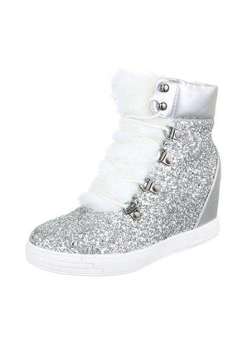 LUCKY SHOES Dames Sneaker Boots Zilver