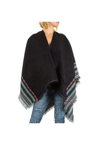 Best Fashion Dames poncho one size van Best Fashion  - zwart
