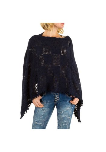 Best Fashion Dames Poncho van Best Fashion one size - donkerblauw
