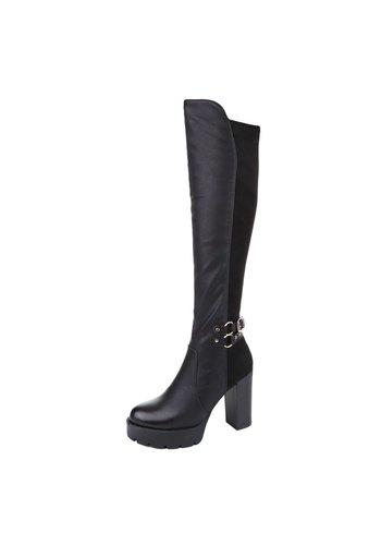 SUPER ME Dames Overknee Laarzen - Zwart