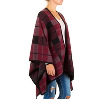 Dames Poncho van Best Fashion one size - Donker Rood