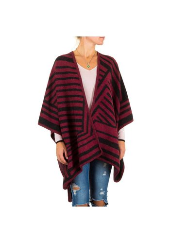 Best Fashion Dames Poncho van Best Fashion one size - Donker Rood