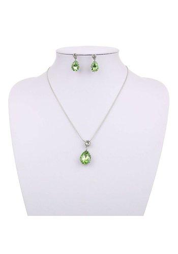 Neckermann Dames Halsketting met bijpassende oorbellen - groen/zilver