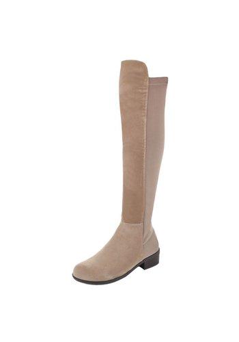Markenlos Damen Overknee Stiefel - khaki