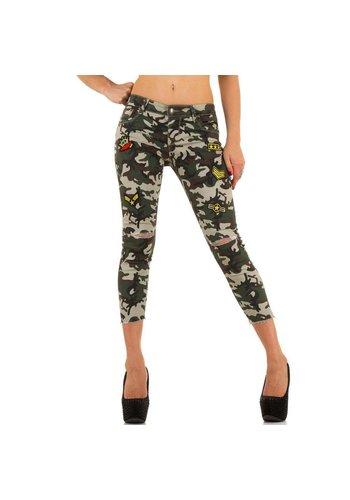 Markenlos Dames Jeans van Miss Rj - armygreen