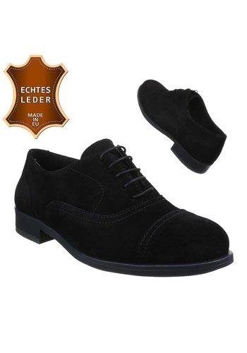 Neckermann Chaussures en cuir pour hommes- Noir