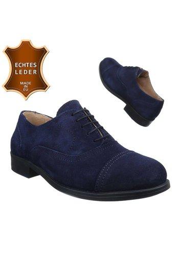 Neckermann Chaussures en cuir pour hommes- Bleu