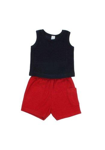 Neckermann Kinder Shorts/Shirt - Donker Blauw en Rood